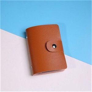 Accessories - Brown Vegan Leather Snap Closure Card Holder